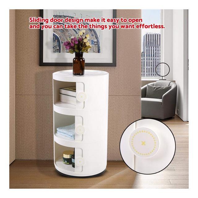 Cassettiera Componibili a 3 Strati Rotonda in ABS per Bagno e Camera da Letto 63 x 32cm bianco