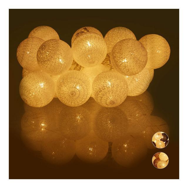Cate LED 20 Sfere Luminose in Cotone da Atmosfera a Batteria Luci da 6 cm  Bianco 160 cm