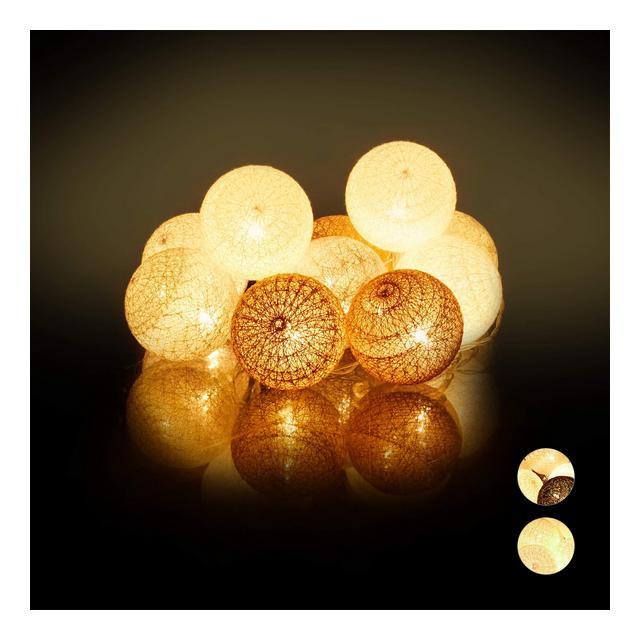 Cate di Luci a LED 10 Sfere Luminose in Cotone da Atmosfera a Batteria Luci da 6 cm  BiancoGrigioMarrone