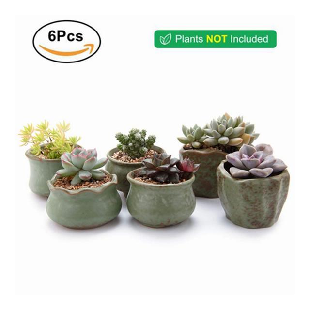 Ceramica Flowerpot per succulenta Planter Vaso da Fiori Vaso di Fiori Bonsai contenitori Decorazione 6pcs Lot Ci Type08