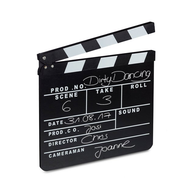 Ciak Cinema in Legno Clapperboard da Regista Accessori Set Cinematografico Lavag HxL 26 x 30 cm Nero