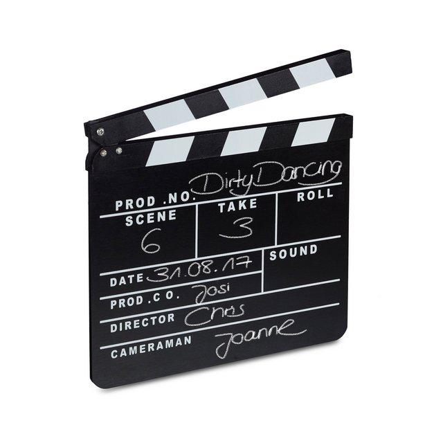 Ciak Cinema in Legno Clapperboard da Regista Accessori Set Cinematografico Lavag HxL 26 x 30 cm Nero