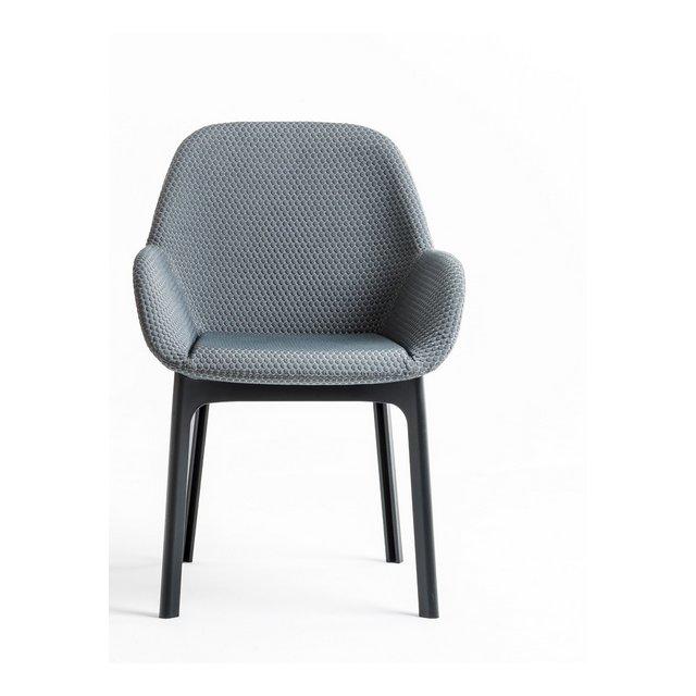 Clap Poltronci con Struttura Nera e Seduta in Tessuto Melange Color Grafite 58 x 85 x 57