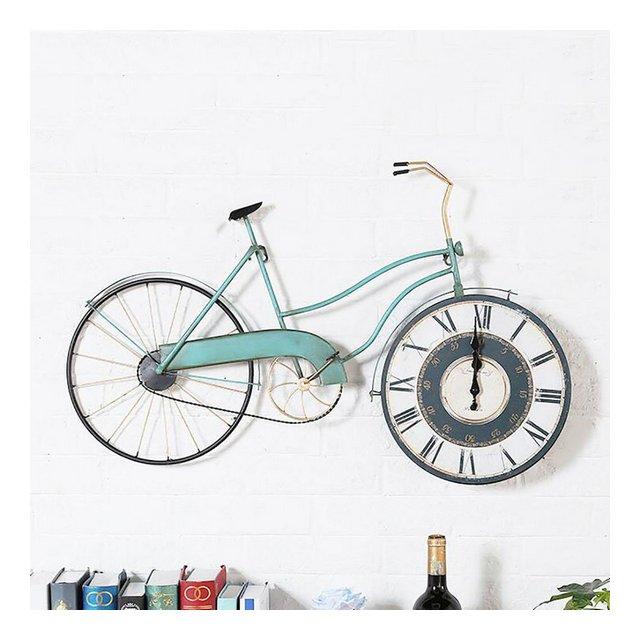 Coffee Shop Bar Orologi da Parete in Ferro Modello Vintage da Bicicletta Modello da Parete Decorativo Colore D