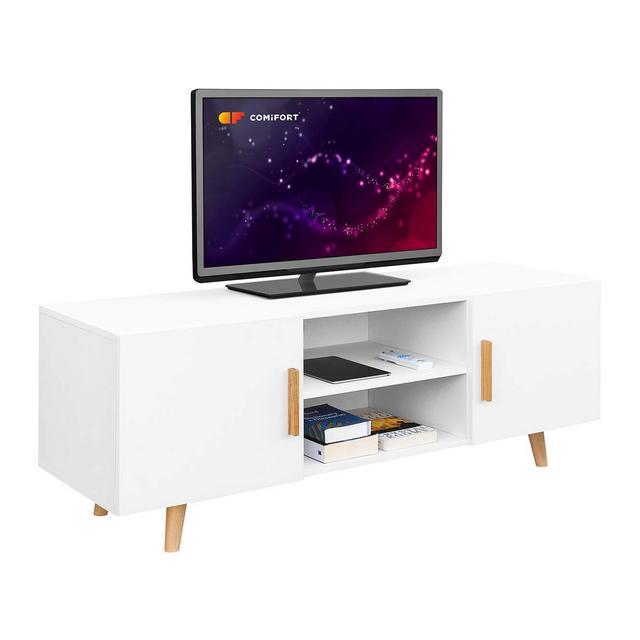 Comifort TV85 Mobile TV per salotto stile moderno e nordico colori bianco quercia biancorovere 140 x 42 x 50 cm