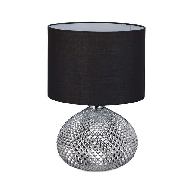 Comodino Lampada da Lettura Moder Paralume Base in Argento Attacco E27 Altezza 50 cm Nera Poliestere H