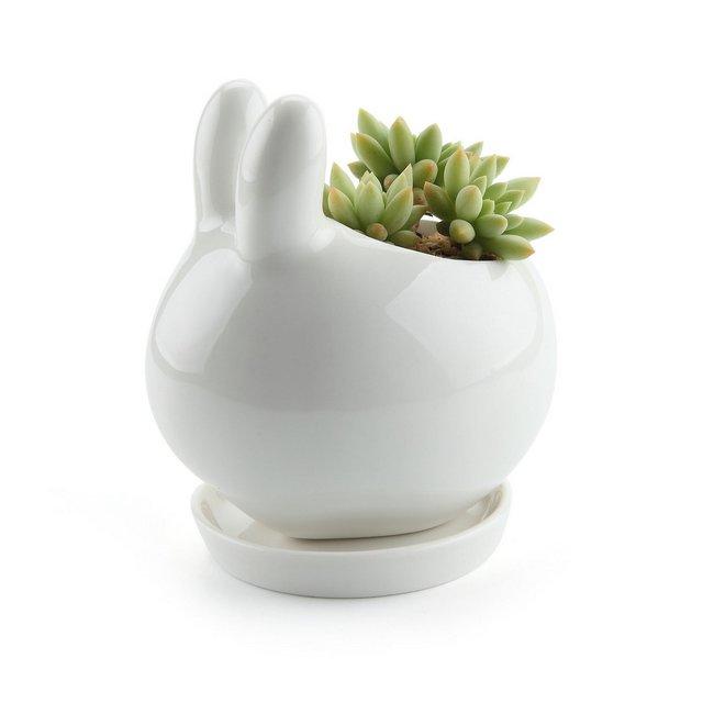 Coniglietto Design Ceramica Succulento VasoCactus Vasi di Fiori Contenitore Porta Porcella Piante Decorazione con Vassoio Rotondo Confezione da 1