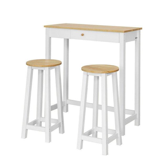 Consolle Tavolo Alto Bar con 2 sgabelli Penisola cucina Mobile Piano in Legno di Hevea A107 cm