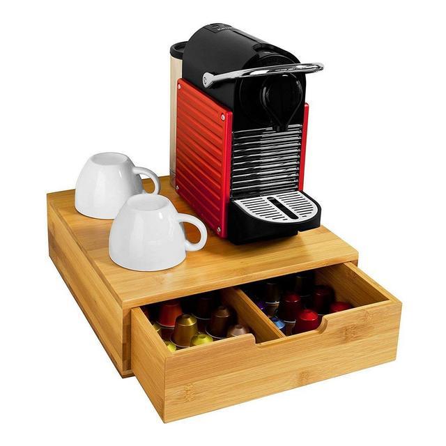 Contenitore Porta Cialde Capsule Caffè Con 1 Cassetto Organizer Porta Oggetti In Legno Bambù Thè Tè Tisane Bustine zucchero 31 x 30 x 95 cm