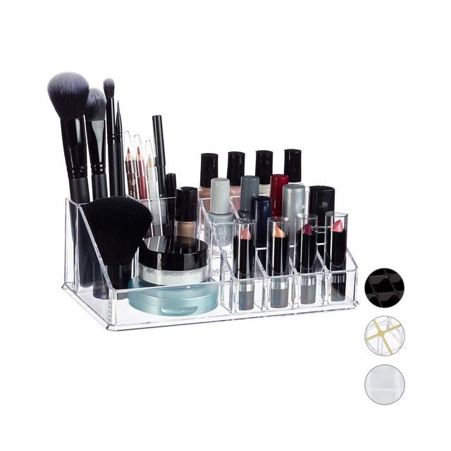 Contenitore PortaTrucchi MakeUp Organizer con 16 Scomparti per Cosmetici Rossetti Acrilico 8 x 22 x 125 cm ca