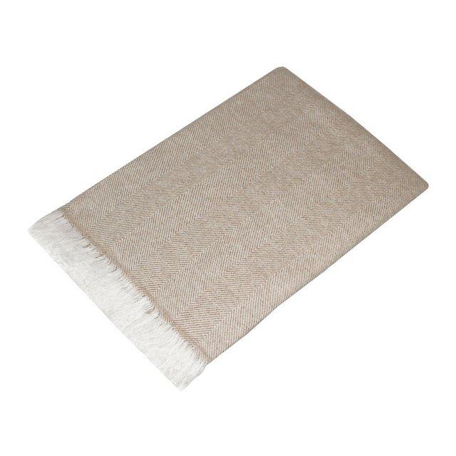 Coperta in la 100% cachemire–Copriletto copridivano o plaid–elegante e comoda in ecru bianco
