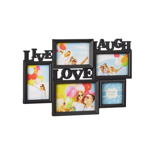 Cornice Multifoto Live Love Laugh Portafoto Multiplo 5 Foto Diverse Dimensioni Collage 3D 31×455 Nero