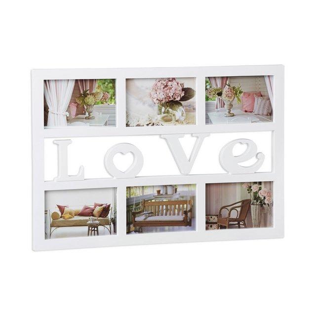 Cornice multifoto Love portafoto Multiplo per 6 fotografie 10×15 cm da Appendere HxLxP 33x48x15cm Bianco