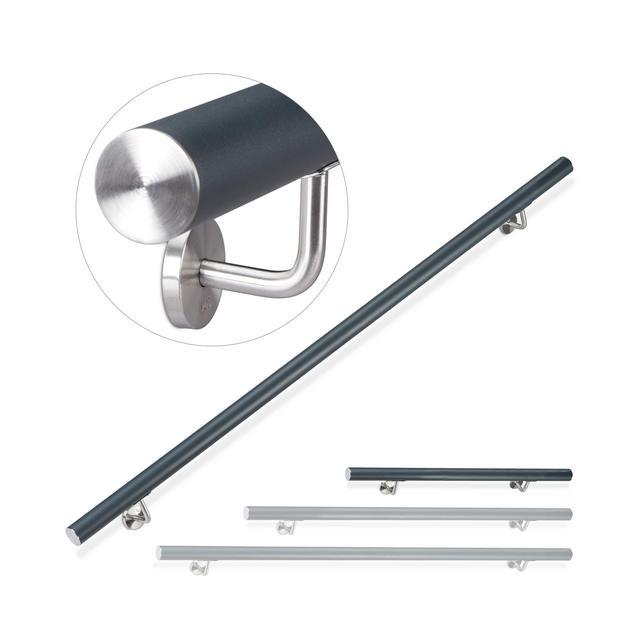 Corrimano Rotondo in Alluminio Passamano per Interni o Esterni Opaco 100 cm Diametro 42 mm Antracite