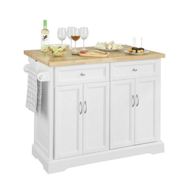 Credenza Legno Carrello cucina Piano Lavoro cucina Piano in Legno di Hevea è allungabile