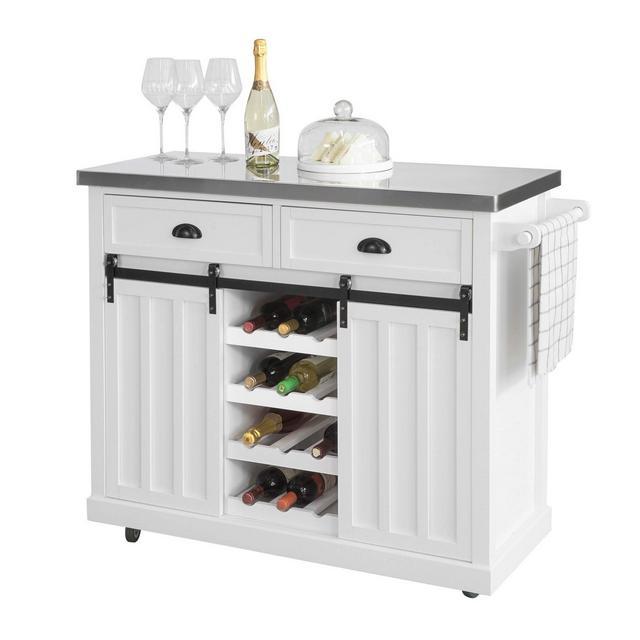 Credenza cucina vetri Shabby Isola cucina con ruote Piano in acciaio inossidabile con portabottiglie e 2 armadietti
