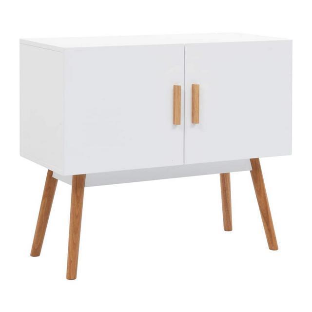 Credenza in Stile Moderno Rialzata Design Raffito Elegante Resistente Solida Buffet Madia Mobile da cucina Salotto Bianca 80x38x70 cm in MDF