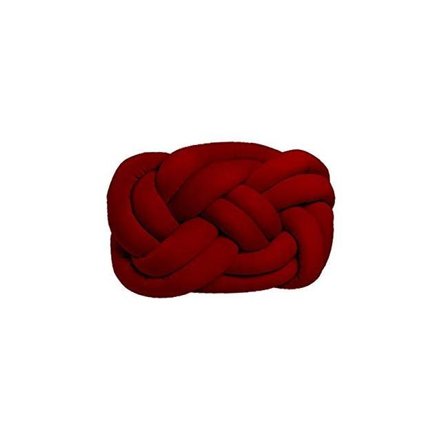 Cuscino Decorativo Cloud Knot Intrecciato Colore Rosso Realizzato a Mano Morbido Decorativo Multifunziole in Velluto