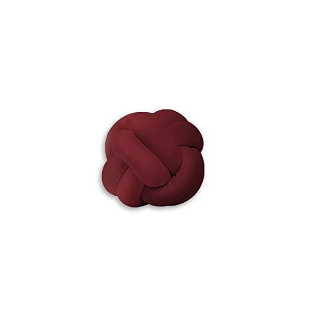 Cuscino Decorativo Knot Intrecciato Colore Bordeaux Realizzato a Mano Morbido Decorativo Multifunziole