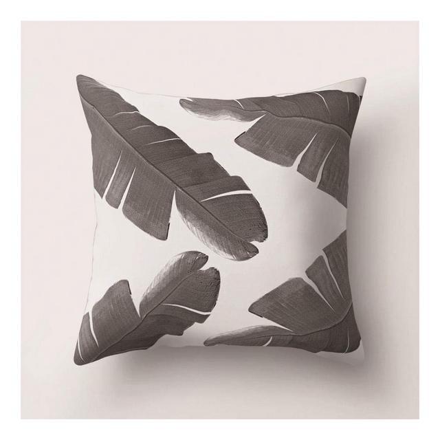 Cuscino del Divano Cuscino Stampato Foglia Tropicale Bianco Sporco Cuscino Pelle di Pesca DomesticaA19_Federa 45 * 45 Cm