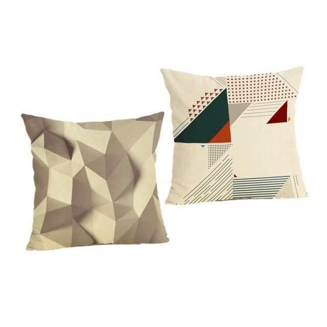 Cuscino del Divano Federa per Cuscino in Cotone E Lino 2 Pezzi Copridivano per Divano Serie GeometricaA4_Federa 45X45 Cm