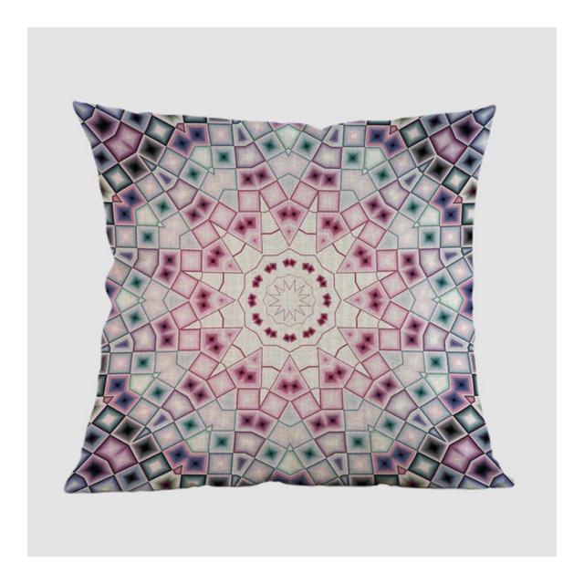 Cuscino del Divano Fodera per Cuscino per Divano di Casa A Motivi Geometrici in Lino MandalaF_Poliestere 45X45