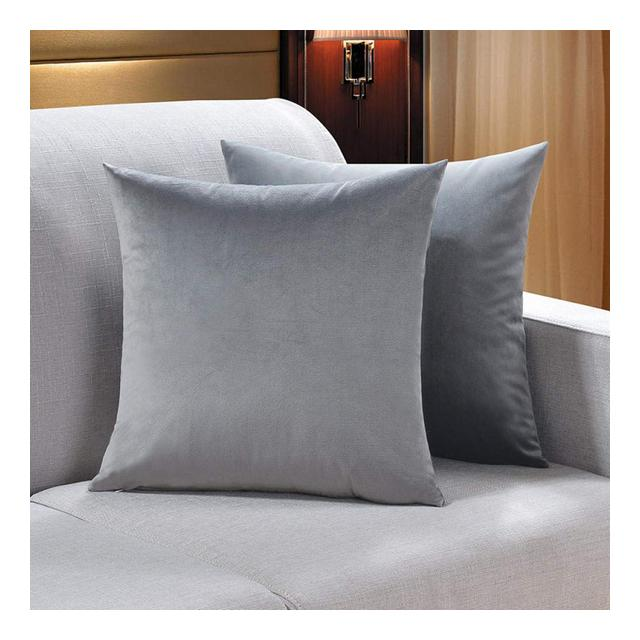 Cuscino per Divano in Velluto Tinta Unita Cuscino Cuscino per Ufficio Schiele FederaGrigio_45 * 45 Cm * Federa 1 Pezzo Anima del Cuscino