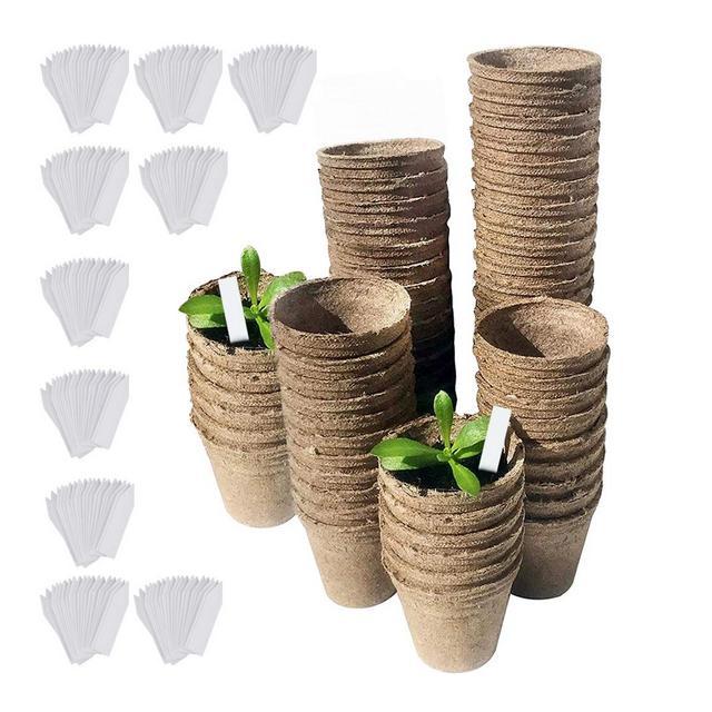 DECARETA 100 Pezzi Vasi Biodegradabili Vasetti di Torba con 100 Pezzi Etichette Vasi Tondi in Fibra 8 cm Vasetti in Fibra Biodegradabili per PiantineSemiFioriGiardinieriBotanici