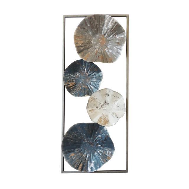 Decorazione da Parete Dahlia Multicolore in Metallo per Soggiorno Ufficio Camera Muro Arte Casa Decoro Dimensioni Prodotto L248xP51xA61 cm