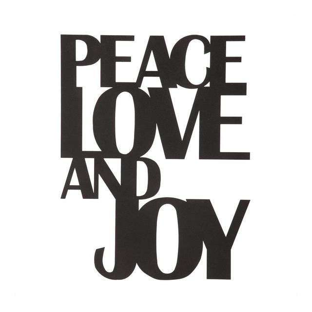 Decorazione da Parete Frase Peace Love And Joy in Metallo Colore Nero