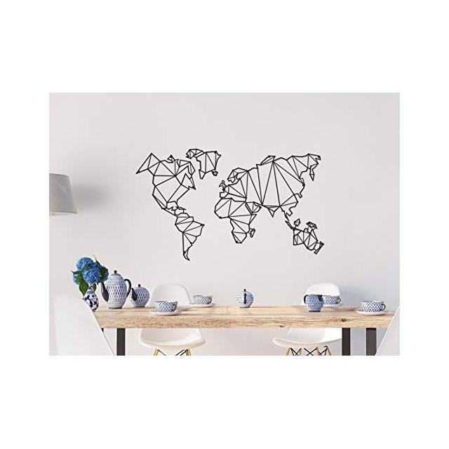 Decorazione da Parete Mappamondo Nero in Metallo Arte Casa Decoro per Soggiorno Ufficio Muro Planisfero Taglia Unica
