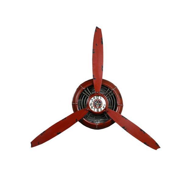 Decorazione da Parete Orologio Loft Industrial Wind Plane Elica Decorazione Parete in Ferro Battuto Rosso Ciondolo Decorativo