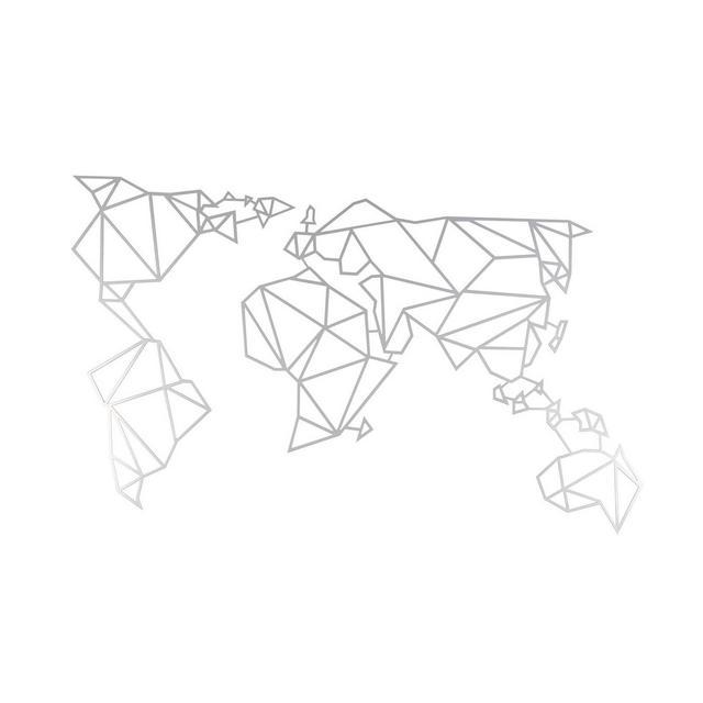 Decorazione in Metallo Mappa Mondo Argento W120xd015xh60 cm