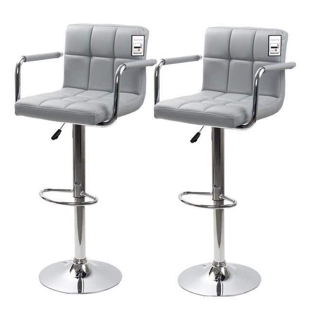 Display4top Sgabelli da Bar con Struttura cromata Girevole a 360 Gradi sedie Imbottite morbide Set di 2 Grigiobracciolo