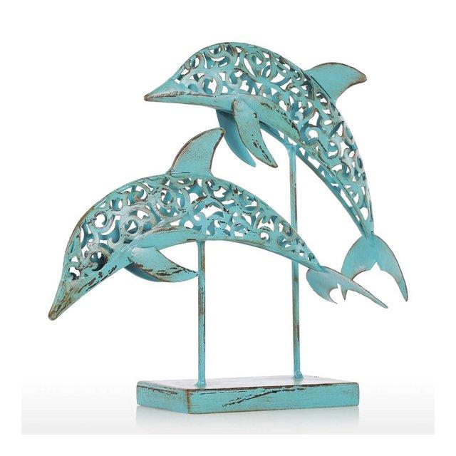 Due Delfini Blu Statua in Ferro Fatto a Mano Statua di Design Ormento Marine Life Retro Effect