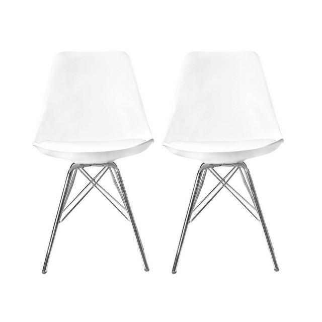 Elightry 2X Sedie cucina Sala da Pranzo Sedia da Scrivania con Schiele Plastica Ecopelle Gambe in Acciaio Cromato Moderno Bianco