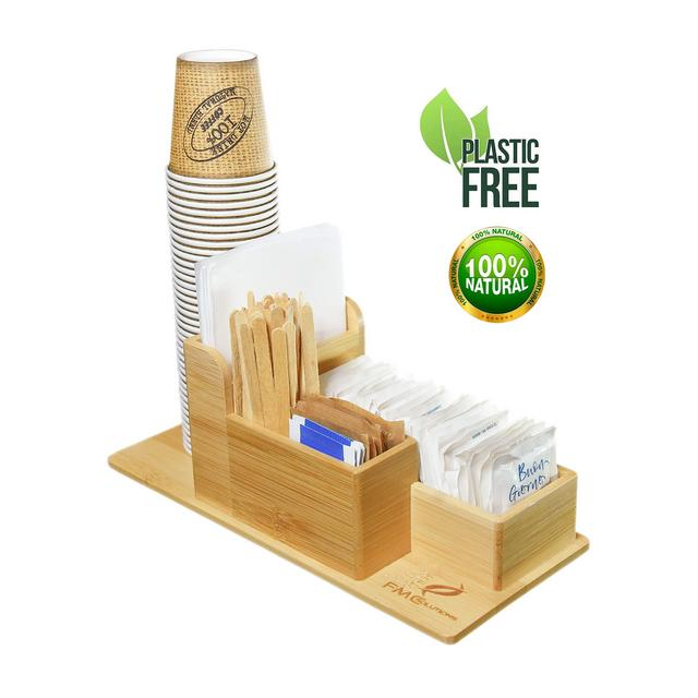 FMC Solution Porta Accessori da Caffè e Tea in Bambù per Zucchero in Bustine Palette Bicchieri e Tovagliolini di Carta Organizer da Tavolo con Piedini Antiscivolo per Casa e Ufficio