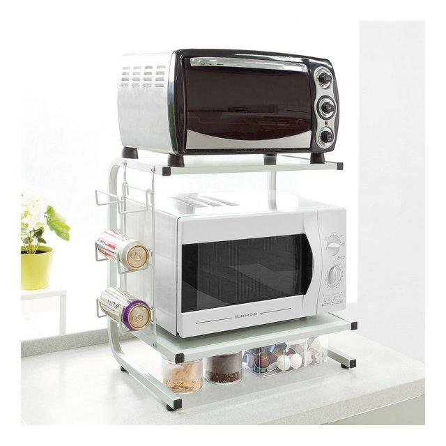 FRG092W Mensola per forno a microonde Mensola da cucinaMensola in metallo e legno