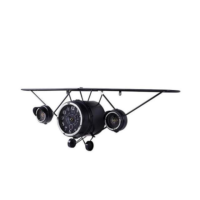Ferro Battuto Aereo Orologio da Parete Rack Vento Retro Bar Decorazione Domestica Parete Creativo Industriale 125 × 25 × 40cm Ciondolo Decorativo