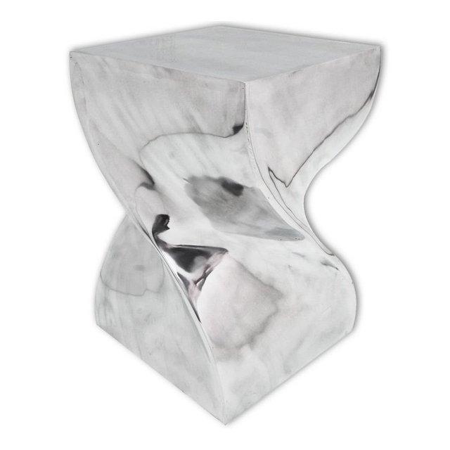 Festnight Tavolino da Salotto Design ModernoTavolino Laterale da Salotto Design ModernoTavolino da caffè Design Moderno Forma Attorcigliata in Alluminio Argentato 29 x 29 x 46 cm