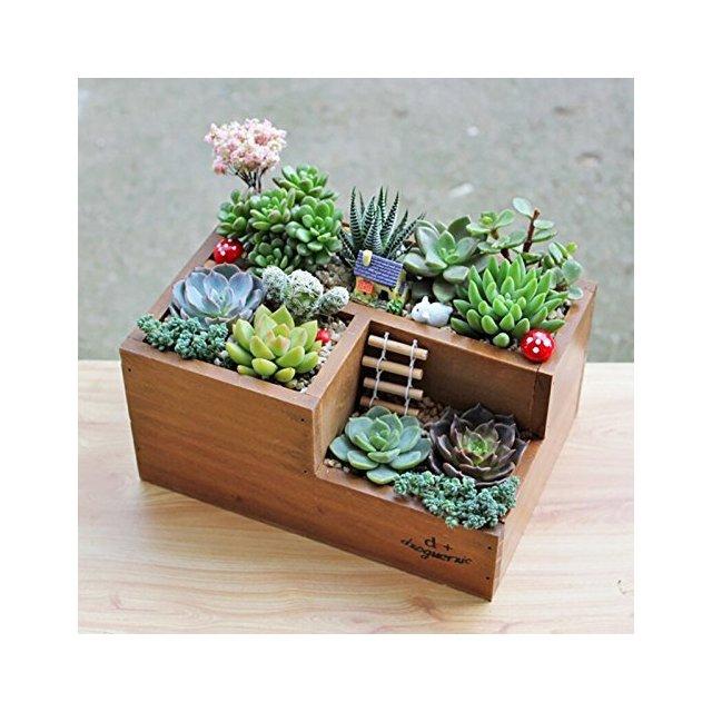 Fioriera da giardino in legno vaso per piante grasse aiuola a tre griglie
