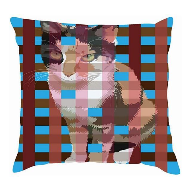 Fodere per Cuscini in Cotone Tricolore Varie astratte Cat On Cage Fodere per Cuscini in Lino di Cotone Federe