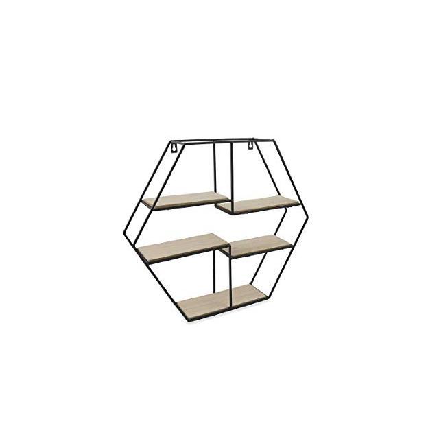 Galileo Casa 2192566 mensola Esagole MetalloLegno 5ripiani 50x10xh45 Nero
