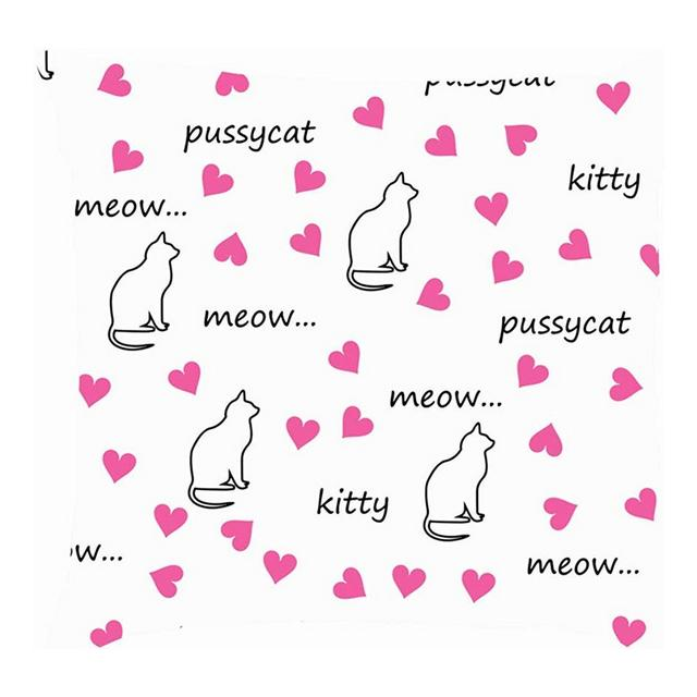 Gatto Cuore Iscrizioni Pussycat Meow Gattino Animali Fodere per Cuscini Fodere per Cuscini in Lino di Cotone Federe