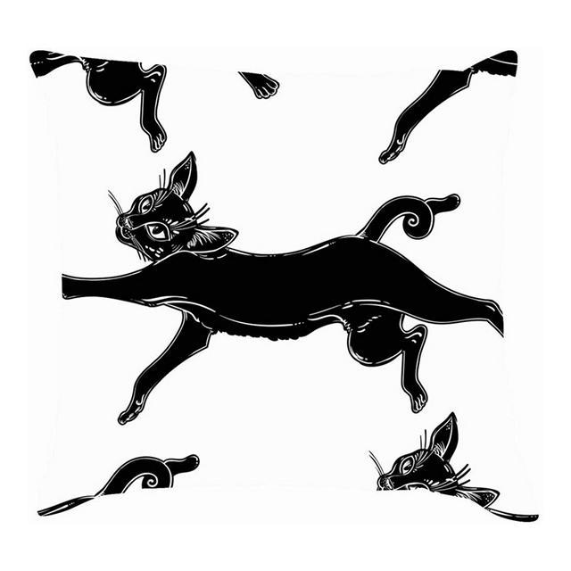 Gatto Nero Che Salta Animali Ideali Fau Selvatica Cuscini per Cuscini per Animali Cuscini in Lino di Cotone Federe per federe