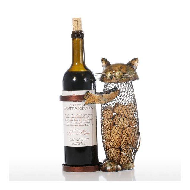 Gatto Vino Contenitore Contenitore in Sughero Decorazione Domestica Ferro Mestiere Regalo Artigiato Ormento Animale