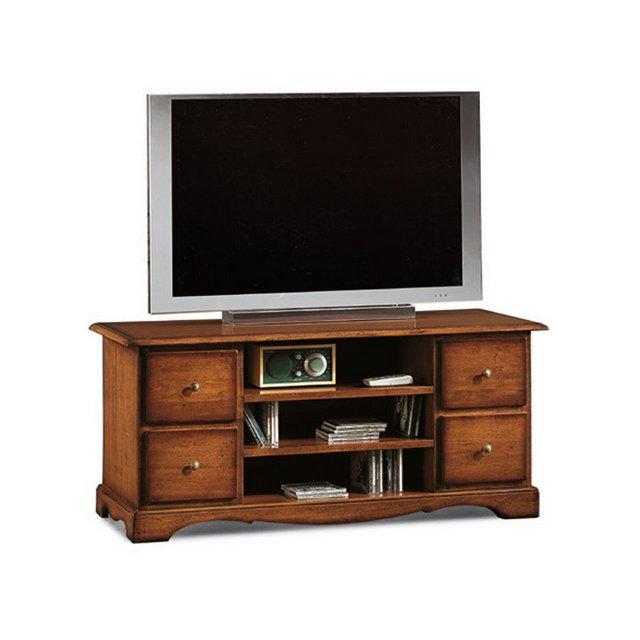 Giò Luxury Mobile Porta Tv Stile Classico In Legno Massello E Mdf Con Rifinitura In Noce Lucido Mis 117 X 49 X 53