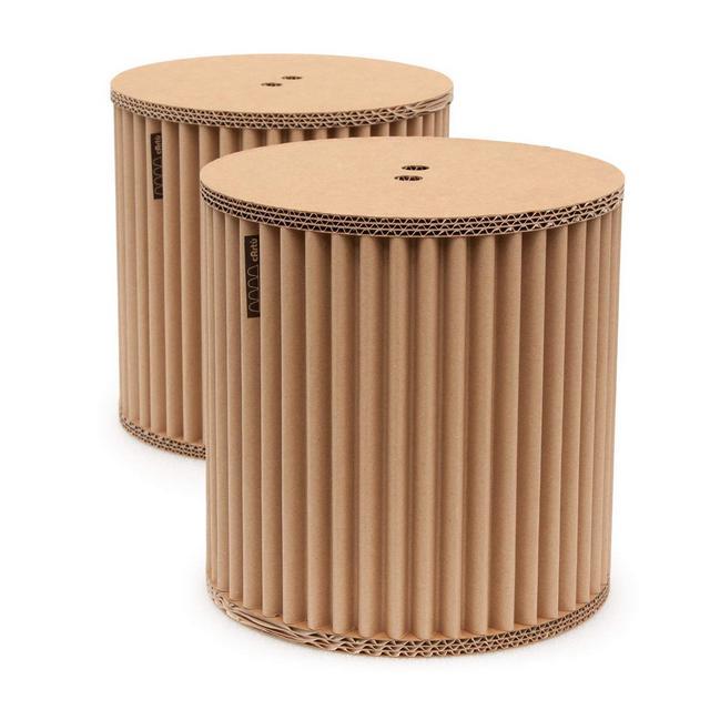Gli Sgabelli cArtù 2 Piccoli e robusti Pouf contenitori Ideali per la Camera dei Bambini Oppure Come comodini Realizzati in cArtù Un Nuovo Tipo di Cartone Ondulato ed Ecologico D 32 cm x H 32 cm
