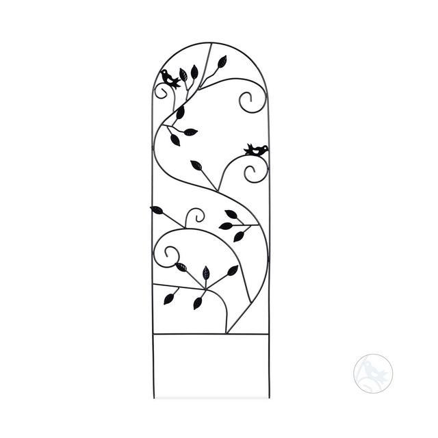 Grigliato da Giardino con Uccellini in Metallo per Piante Rampicanti 120×40 cm Colore Nero