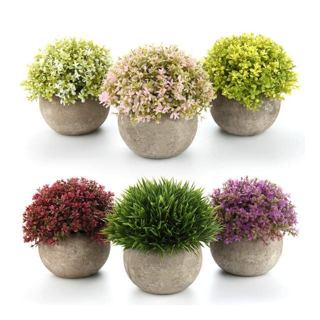 HONIC plantas artificiais Fiore in Vaso Vaso Erba Piante casa e Ufficio da tavolino della Decorazione davanzale Bonsai Regalo Indoor Italia Type02